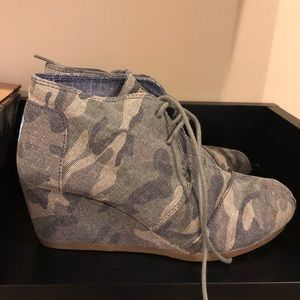 0a05c541ce86a Toms Shoes | Desert Wedge In Washed Camo Womens | Poshmark